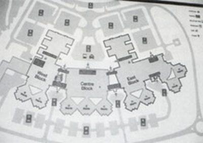 ノーフォーク・ノリッジ大学病院の全体配置図