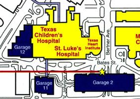 テキサスハートセンターと他病院との地理的関係
